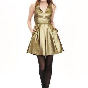 Banana Republic Gold Metallic Dress 8 (Runs Small)